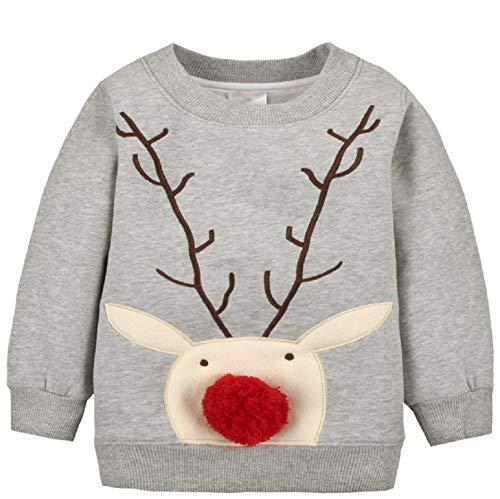 Baby Mädchen Jungen Fleecepullover Weihnachtspulli Kleinkinder Herbst Winter Verdickte Warm Langarm Pullover Sweatershirt Oberbekleidung Grau1 2 Jahre