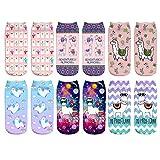 CHIC DIARY Bunte Sneaker Socken Alpaka Muster Mädchensocken mit Süßes Tier Motiv aus Polyester für Mädchen Kinder, 6 Paar, Einheitsgröße