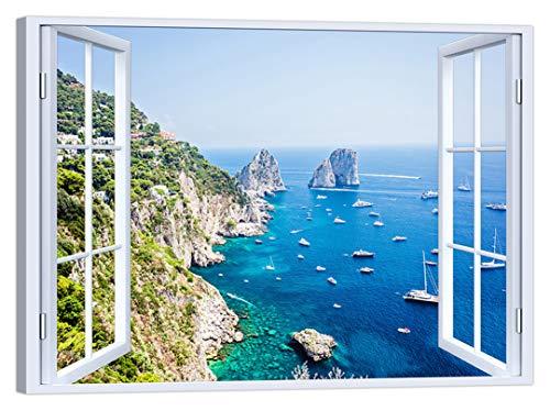 LuxHomeDecor - Cuadro de ventana sobre capri de 100 x 75 cm, impresión sobre lienzo con marco de madera, decoración artística moderna