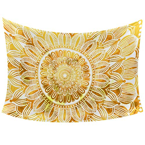 Abstract Gold Mandala Watercolor Art Painting Tapestry Wall Hanging for Home Wall Decorative for Living Room Bedroom Dorm Decoration, 60'X51'