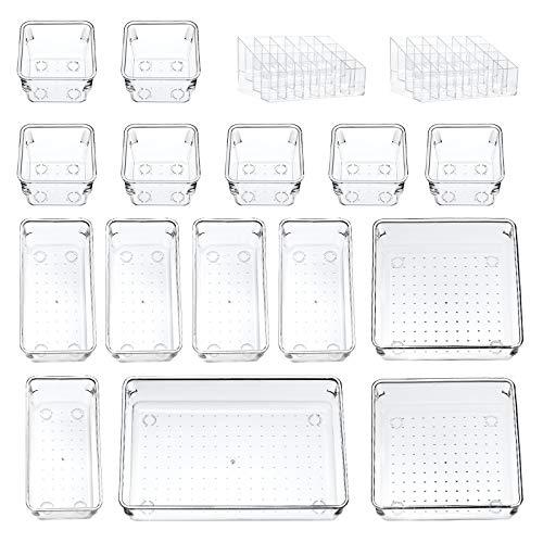 17 Pack organisateur de tiroir de bureau boîtes de rangement polyvalentes étagère de rangement pour rouge à lèvres organisateur de maquillage boîtes de rangement en plastique transparent diviseur