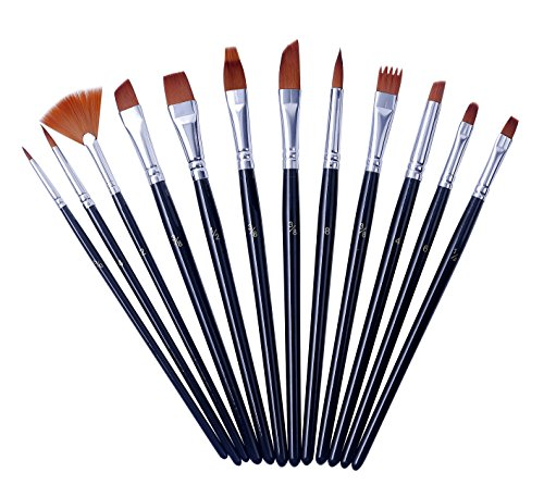Artme 12pz Conjunto De Pinceles De Artista De Nylon - Cepillos Mixtos Profesionales En Embalaje Económico. Perfecto Para Acuarela/Acrílico/Gouache/Aceite/Pintura De La Cara - Uso Múltiple