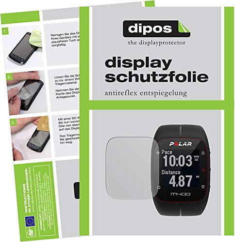 dipos I 2X Schutzfolie matt kompatibel mit Polar Trainingscomputer M400 HR Folie Bildschirmschutzfolie