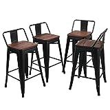 Tabourets de Bar Industriel en Metal Lot de 4 pour Cuisine Bistrot Café, 66 cm de Hauteur du siège