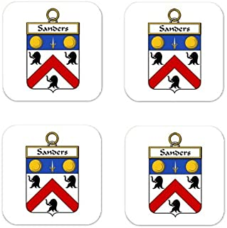 Sanders Family Crest Square Coasters Coat of Arms Coasters - Set of 4