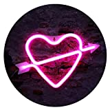 Heart Shape Neon Lights, LED Neon Signs Art Decorations Night Lights Lamp for Wedding Party Supplies, Proposal, Valentine's Day Decorations-an Arrow Piercing The Heart Neon Sign(Pink)