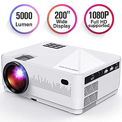 DBPOWER L21 LCD Video Projector, Upgraded 5000L 1080P 1920x1080 Supported Full HD Mini Movie Projector with HDMIx2/USBx2/AV Ports, Compatible with Smartphone/VGA/TV/PS4/DVD Ideal for Home Theater