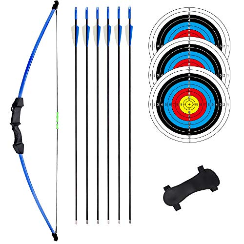 rootmemory Recurve Bows and Arrow Set for Teens 18 lbs with Arm Guard, Outdoor Sports Game Hunting Toy Beginner Gift Youth Bow Kit with 6 Arrows 3 Target Faces Right and Left Hand