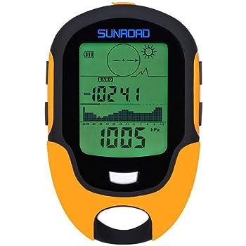 SUNROAD Mini Multifunzione Con Barometro Altimetro Bussola Display LCD Termometro Digitale Orologio Igrometro Previsioni Meteo Torcia LED