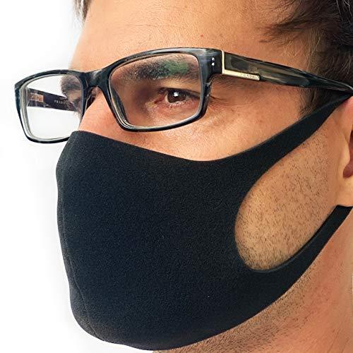 STELLENBERG DESIGN Behelfsmaske aus leichtem Schaumstoff Sofort lieferbar aus Deutschland wiederverwendbar waschbar brillenträger atmungsaktiv unisex alltagsmaske fashion grau (Schwarz)