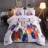 Btargot Dream Catcher Colorful Bohemian Bedding Comforter Sets 3 Pieces Girls Women Feather and Floral Printed Quilt Bedding Sets Queen Size