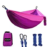 Camping Hammock, Lightweight Nylon Portable Parachute Single Camping Hammock for Backpacking, Camping, Travel