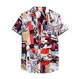 JJZSL Camisa De La Manga Corta De Los Hombres Del Verano De Los Hombres Camisetas De La Manga Corta De Las Camisas De La Playa De Hawaiian Camisa De La Flor De Los Hombres De La Camisa Étnica Del Paño