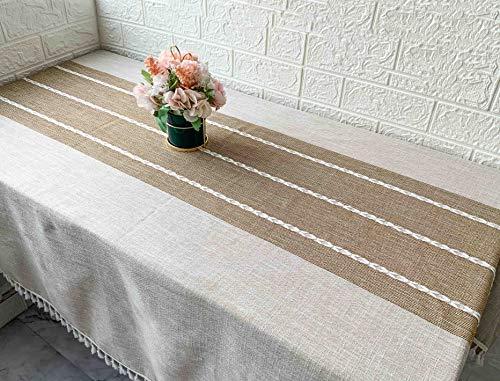 Unique HM&LN Rechteckige Tischdecke Baumwolle Leinen Wasserdicht Dekoration Tischtuch waschbare Küchentischabdeckung für Speisetisch Wasserabweisend Tischwäsche Braun Quasten (140 x 180 cm)