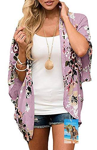YULOONG - Kimono suelto para mujer, diseño floral, para verano, blusa informal, sexy, para la playa Rosa Rosa Oscuro S