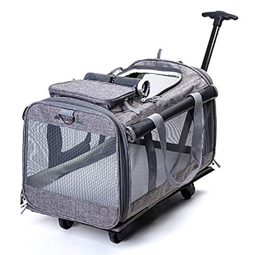 Trolley voor huisdieren, ademend, transporttas voor huisdieren, auto, kooi, honden, rugzak, kat, 50 x 30 x 33 cm, grijs.