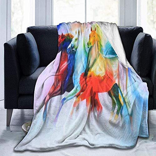 kglkb Bedruckte Flanelldecke,Schlafsofa-Decken Regenbogen Pferd Malerei Runde Decke Gemütliche Thermodecke Keine Schuppen Couch Wurfdecke