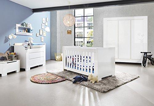 Pinolino Kinderzimmer Sky breit groß, 3-teilig, Kinderbett (140 x 70 cm), breite Wickelkommode mit Wickelaufsatz und großem Kleiderschrank, weiß Hochglanz (Art.-Nr. 10 34 98 BG)