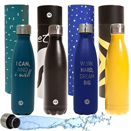 Sternitz Botella de Agua Hydra Acero Inoxidable con Aislamiento al vacio. Mantiene Tus Bebidas frías por 24 Horas y Calientes por 12 Horas. Water Bottle (Negro Original)
