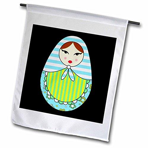 3dRose FL_58626_1 niedliche russische Matroschka-Puppe, braune Haare, Coole Farben, Schwarze Gartenflagge, 30,5 x 45,7 cm