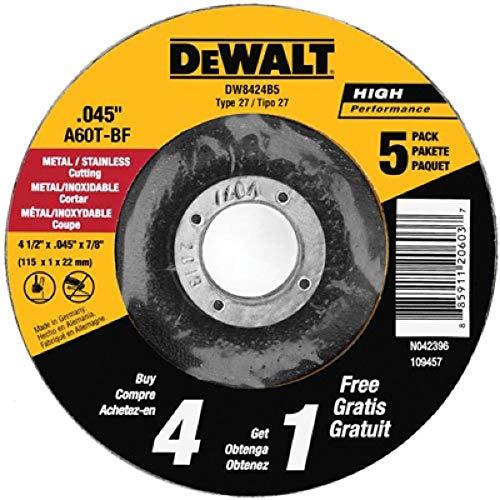 DEWALT Cutting Wheel, All Purpose, 4-1/2-Inch, 5-Pack (DW8424B5)