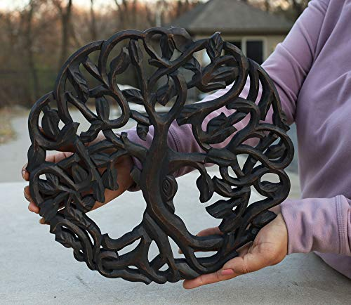 DharmaObjects Handcrafted Wooden Celtic Tree Of Life Wall Decor Hanging Art (Black)