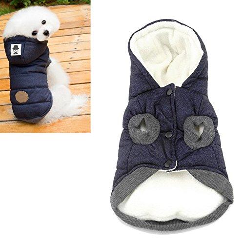 Kismaple Cane & Gatto, giacca, felpa, piumino invernale, anumale domestico cappotto con cappuccio, vestiti caldi per piccolo medio Cani (M (torace: 37 cm, collo: 26 cm), Blu)