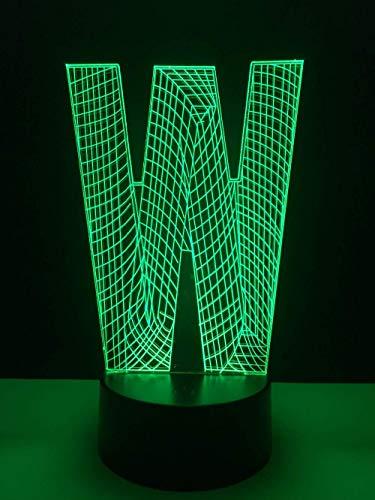 Lámpara de ilusión 3D con letra W para niños, niñas, regalo, luz de noche 3D para dormitorio junto a la mesa, lámpara de estado de ánimo de 16 colores cambiantes, lámpara de mesa de escritorio, r