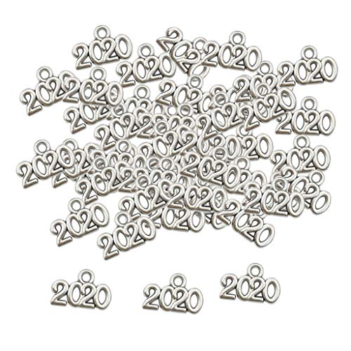 freneci 100x Antique Silver Number Charms Jewelry Making Findings/Sewing Crafts - Silver, 2020