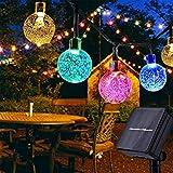 Guirnaldas Luces Exterior Solares, FOCHEA 7M Cadena de Bola Cristal Luz Impermeable 8 Modos de Iluminación para Jardín, Terraza, Boda, Fiesta, Patio, Árbol de Navidad (Multicolor)