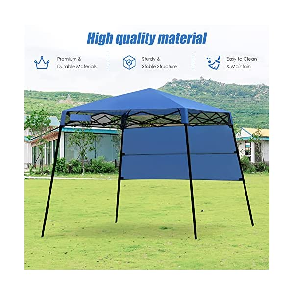 GYMAX 1.8x1.8m Slant Leg Canopy, Waterproof Fire Resistant Pop Up Folding Gazebo Tent with Backpack, Sun Protection…