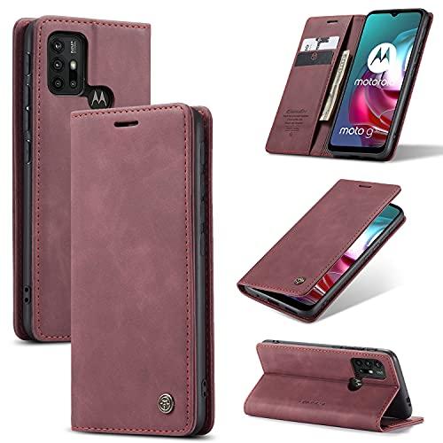KONEE Hülle Kompatibel mit Motorola Moto G30 / Moto G10, Lederhülle PU Leder Flip Tasche Klappbar Handyhülle mit [Kartenfächer] [Ständer Funktion], Cover Schutzhülle für Motorola Moto G10 - Weinrot