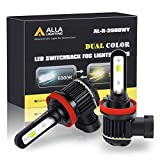 ALLA Lighting H8 H16 H11 Switchback LED Fog Lights Bulbs Super Bright 5200 Lumens Replacement, Dual Color 6000K Xenon White / 3000K Amber Yellow