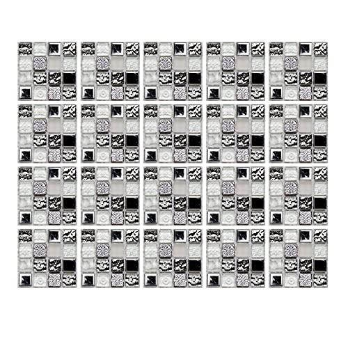 20 adesivi per piastrelle da 10 cm x 10 cm, adesivi per piastrelle di mosaico per casa, cucina, bagno, adesivi autoadesivi per piastrelle (metallo grigio)