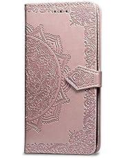 Oihxse Funda con Xiaomi Redmi 8A, Cuero PU Billetera Cierre Magnético Flip Libro Folio Tapa Carcasa Relieve Soporte Plegable Ranuras para Tarjetas Protección Caso(Oro Rosa)