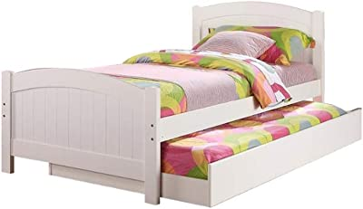 Benjara Benzara Stylish Twin Bed With Trundle,White,