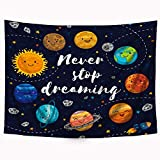 Riyidecor Cute Planet Quotes Tapestry Kids Cartoon Star Cluster 59Wx51L Inches Space Galaxy Solar System Universe Art Hanging Bedroom Living Room Dorm Wall Blankets Home Decor Fabric