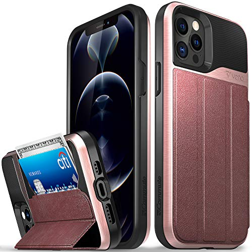 Vena Wallet Case Compatible with Apple iPhone 12/12 Pro (6.1-inch), vCommute (Military Grade Drop Protection) Flip Leather Cover Card Slot Holder with Kickstand - Rose Gold