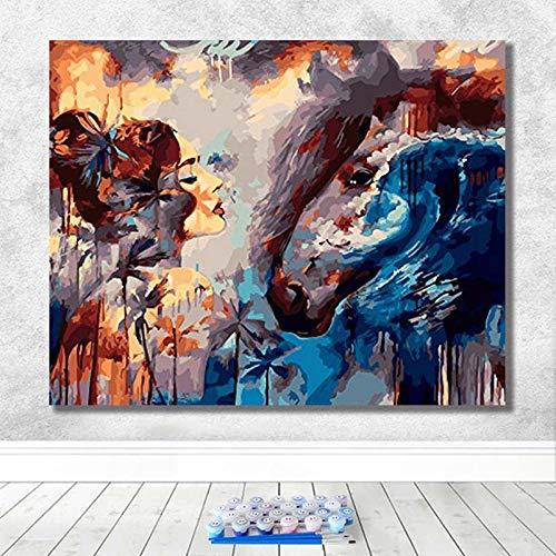 SDFGS olieverfschilderij digitaal om zelf te maken De mooie en het best woonkamer decoratie dierschilderij kunst restauratie schilderij handgeschilderd voor volwassenen -1215_-40X50-frameless