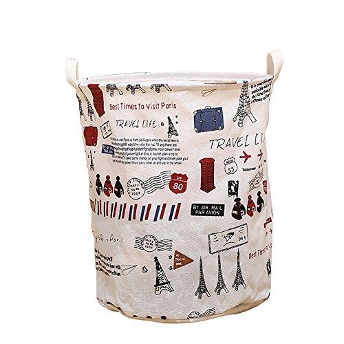 fablcrew Wäschekorb Vintage Tower Waschen Reinigung Tasche Aufbewahrung Müllbeutel-Home Organizer weiß