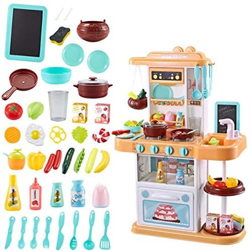 YLLN Juego de cocina para niños, comida de simulación, pequeño juego de accesorios de juguetes de cocina de 40+ piezas con sonidos reales y luz, agua corriente, vapor, regalos para niñas de 1, 2, 3, 4
