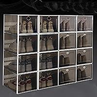 スタック可能な 16 パック 靴ボックス,省スペース 折りたたみ式クリアプラスチック靴オーガナイザー,ムーティ-組み合わせ 靴ラックキャビネット ベッドルーム用,クローゼット-A 33.7x23.3x15.3cm
