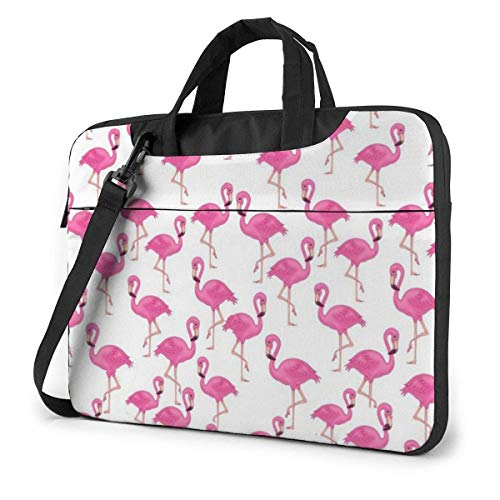 Pink Flamingo Seamless Pattern in Laptop Bag Notebook Computer Protective Cover Anti-Scratch Handbag Shoulder Bag