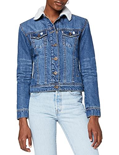 Urban Classics TB1740 Ladies Sherpa Denim Jacket, klassische Trucker Jeansjacke mit Fell für Frauen, für Herbst und Winter, warm gefüttert - blue washed, Größe XS