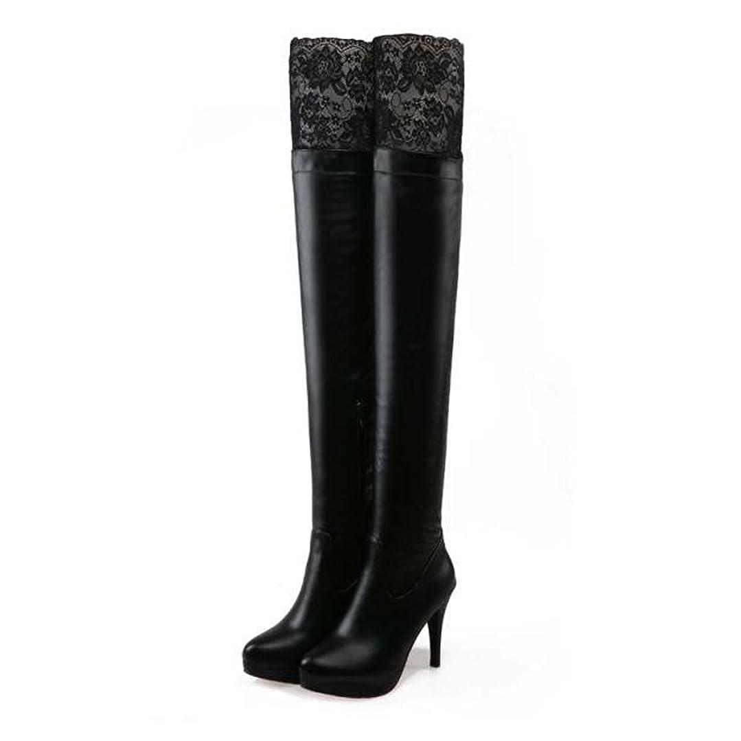 桁ばか内向き[ファッション メーカ] F&M ロングブーツ レディース レース 美脚 白 黒 長靴 厚底 ピンヒール ハイヒール 大きいサイズ おしゃれ