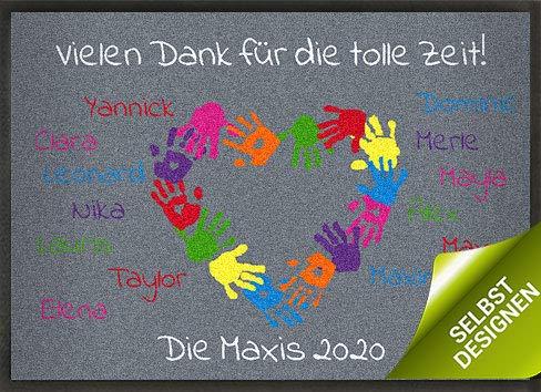 mymat personalisierbare Fußmatte zum Kindergartenabschied - Bunte Kinderhände - mit eigenem Text und Namen gestalten