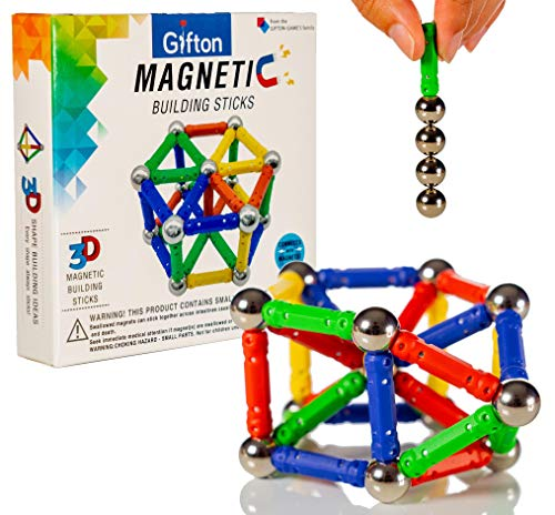 Gifton - Magnetic Building Sticks Blocks STEM Toy Set 20pc – Kids...