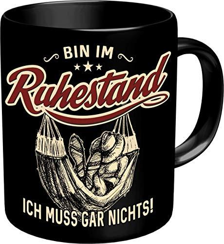 RAHMENLOS Kaffeetasse als Geschenk für Rentner - Bin im Ruhestand - Im Geschenkkarton