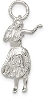 925 Sterling Silver Hula Dancer Pendant Charm Necklace Sea Shore Beach Life Fine Jewelry Gifts For Women For Her