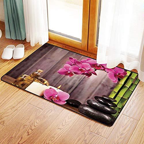 Yaoni Rutschfester Badvorleger, Spa-Dekor, Spa Orchidee Blumen Felsen Bambus asiatischen Stil Aromatherapie Massagether,Mikrofaser Duschvorleger Teppich für Badezimmer Küche Wohnzimmer 60x100 cm
